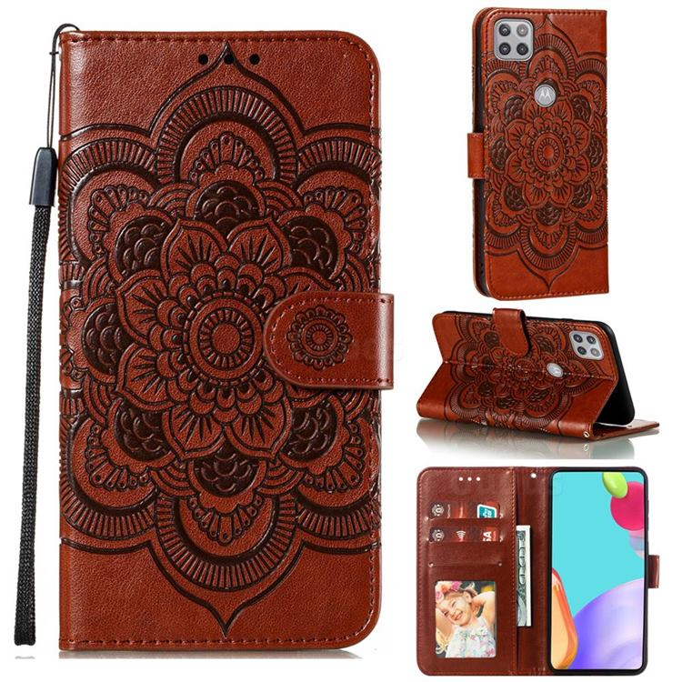 Intricate Embossing Datura Solar Leather Wallet Case for Motorola Moto G 5G - Brown