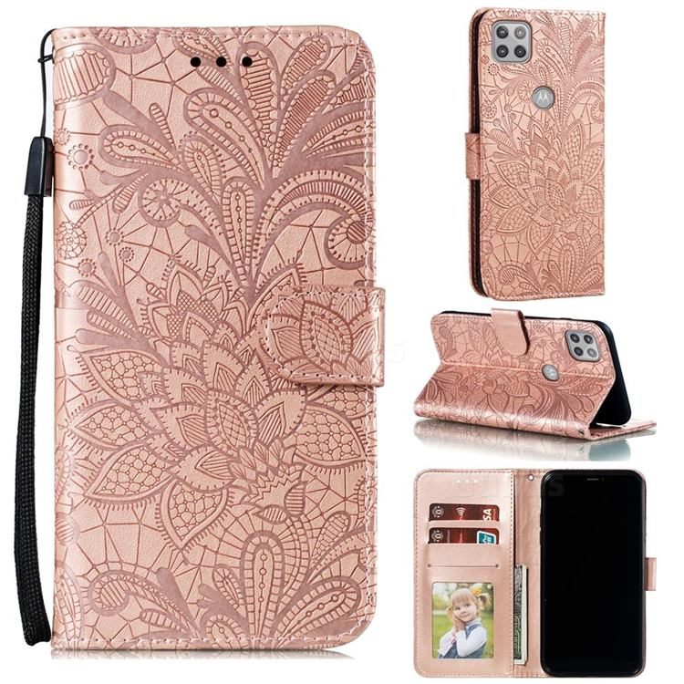 Intricate Embossing Lace Jasmine Flower Leather Wallet Case for Motorola Moto G 5G - Rose Gold