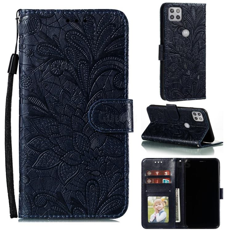 Intricate Embossing Lace Jasmine Flower Leather Wallet Case for Motorola Moto G 5G - Dark Blue