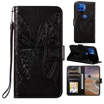 Intricate Embossing Vivid Butterfly Leather Wallet Case for Motorola Moto G 5G Plus - Black