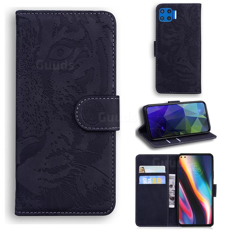 Intricate Embossing Tiger Face Leather Wallet Case for Motorola Moto G 5G Plus - Black
