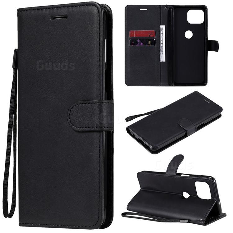 Retro Greek Classic Smooth PU Leather Wallet Phone Case for Motorola Moto G 5G Plus - Black