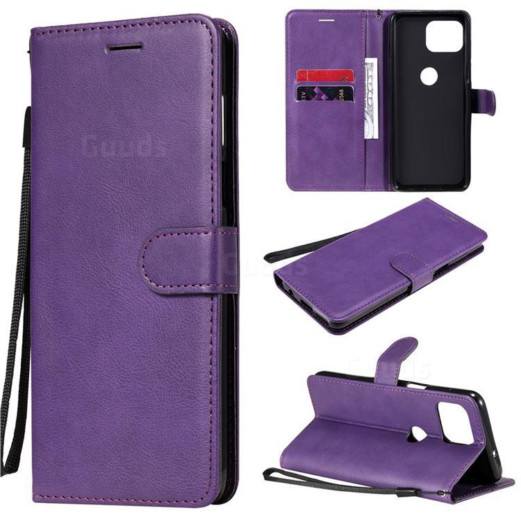 Retro Greek Classic Smooth PU Leather Wallet Phone Case for Motorola Moto G 5G Plus - Purple