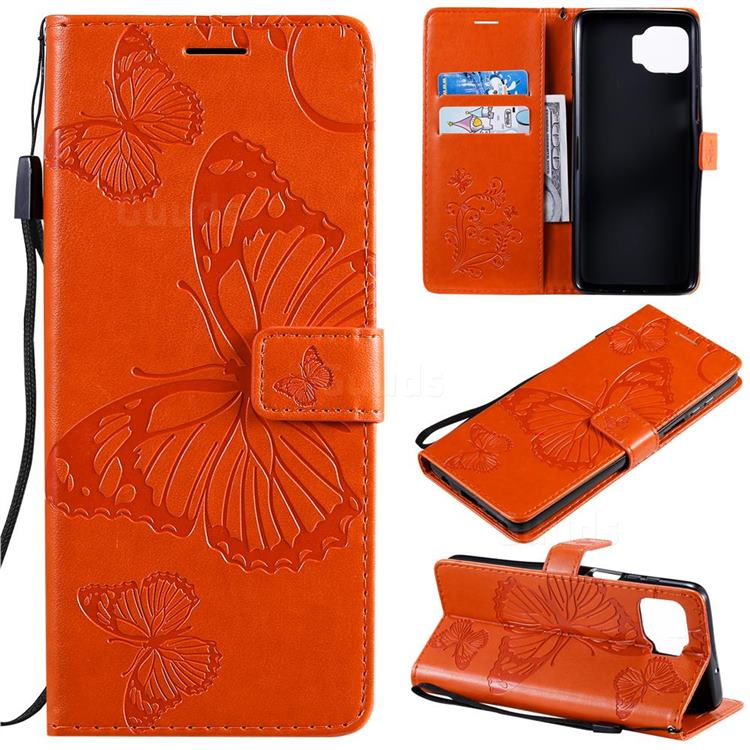 Embossing 3D Butterfly Leather Wallet Case for Motorola Moto G 5G Plus - Orange