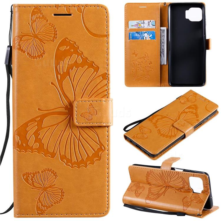 Embossing 3D Butterfly Leather Wallet Case for Motorola Moto G 5G Plus - Yellow