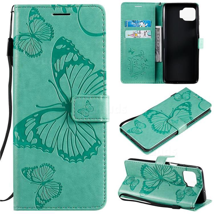 Embossing 3D Butterfly Leather Wallet Case for Motorola Moto G 5G Plus - Green
