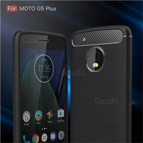 Luxury Carbon Fiber Brushed Wire Drawing Silicone TPU Back Cover for Motorola Moto G5 Plus (Black)