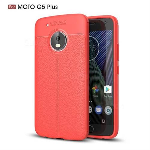 Luxury Auto Focus Litchi Texture Silicone TPU Back Cover for Motorola Moto G5 Plus - Red