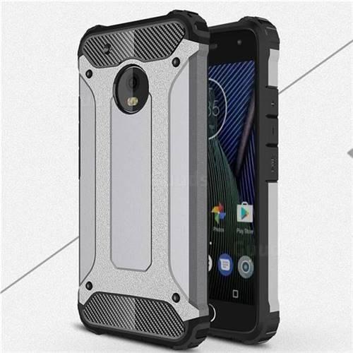 King Kong Armor Premium Shockproof Dual Layer Rugged Hard Cover for Motorola Moto G5 Plus - Silver Grey