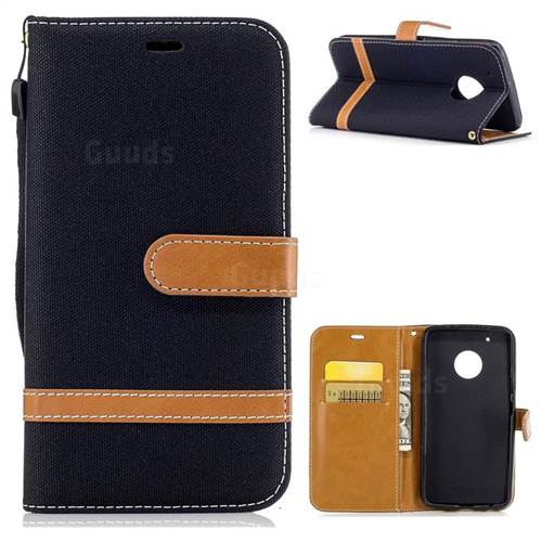 Jeans Cowboy Denim Leather Wallet Case for Motorola Moto G5 Plus - Black