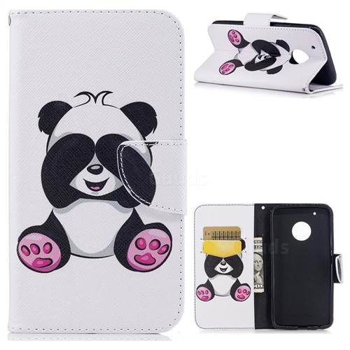 Lovely Panda Leather Wallet Case for Motorola Moto G5 Plus