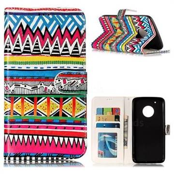 Tribal Pattern 3D Relief Oil PU Leather Wallet Case for Motorola Moto G5 Plus