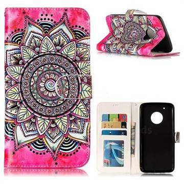 Rose Mandala 3D Relief Oil PU Leather Wallet Case for Motorola Moto G5 Plus