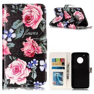 Peony 3D Relief Oil PU Leather Wallet Case for Motorola Moto G5 Plus