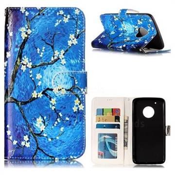 Plum Blossom 3D Relief Oil PU Leather Wallet Case for Motorola Moto G5 Plus
