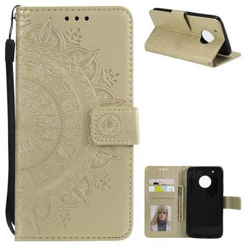 Intricate Embossing Datura Leather Wallet Case for Motorola Moto G5 Plus - Golden