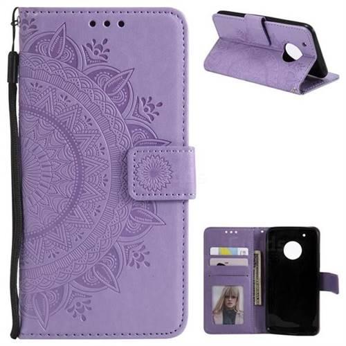 Intricate Embossing Datura Leather Wallet Case for Motorola Moto G5 Plus - Purple