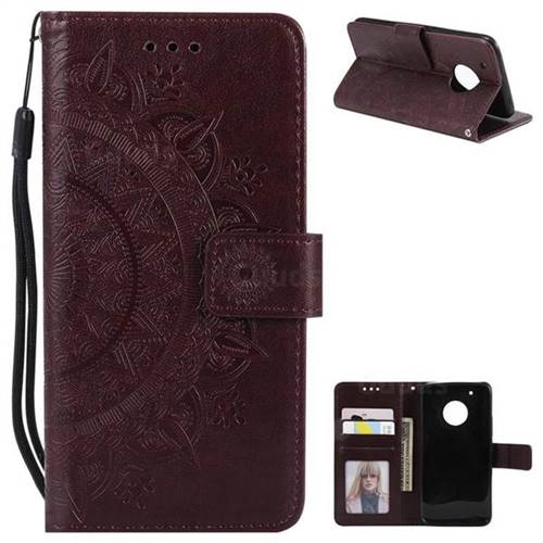 Intricate Embossing Datura Leather Wallet Case for Motorola Moto G5 Plus - Brown