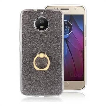 Luxury Soft TPU Glitter Back Ring Cover with 360 Rotate Finger Holder Buckle for Motorola Moto G5S - Black