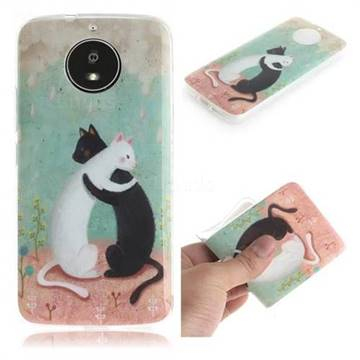 Black and White Cat IMD Soft TPU Cell Phone Back Cover for Motorola Moto G5S