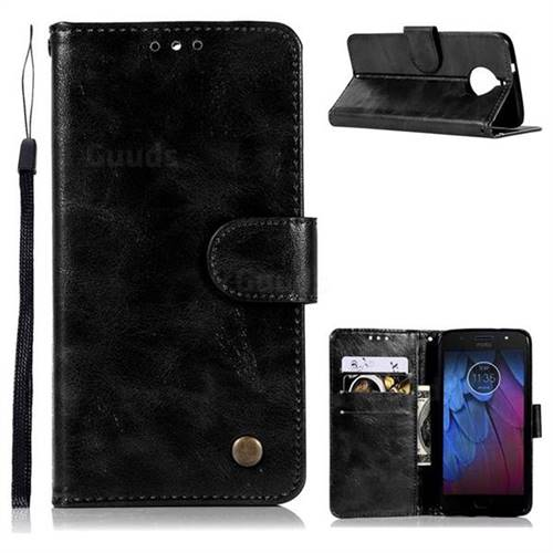 Luxury Retro Leather Wallet Case for Motorola Moto G5S - Black