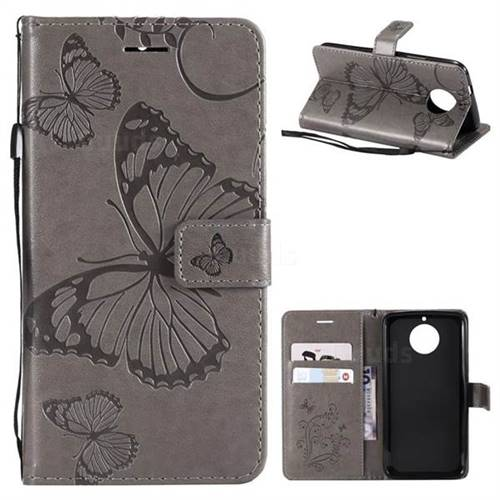 Embossing 3D Butterfly Leather Wallet Case for Motorola Moto G5S - Gray