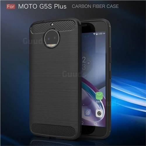 Luxury Carbon Fiber Brushed Wire Drawing Silicone TPU Back Cover for Motorola Moto G5S Plus (Black)
