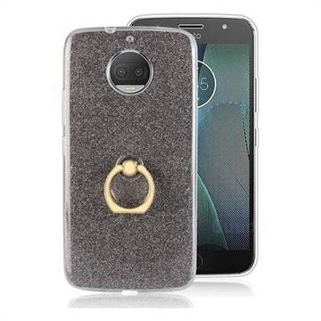 Luxury Soft TPU Glitter Back Ring Cover with 360 Rotate Finger Holder Buckle for Motorola Moto G5S Plus - Black