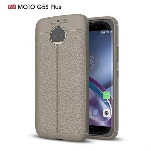 Luxury Auto Focus Litchi Texture Silicone TPU Back Cover for Motorola Moto G5S Plus - Gray