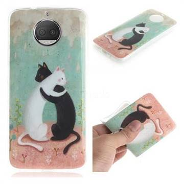 Black and White Cat IMD Soft TPU Cell Phone Back Cover for Motorola Moto G5S Plus