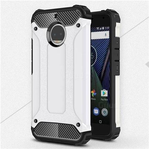 King Kong Armor Premium Shockproof Dual Layer Rugged Hard Cover for Motorola Moto G5S Plus - White