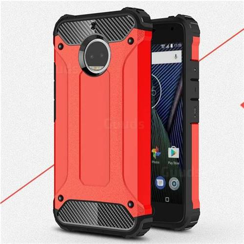 King Kong Armor Premium Shockproof Dual Layer Rugged Hard Cover for Motorola Moto G5S Plus - Big Red