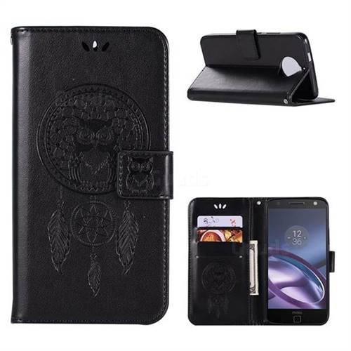 Intricate Embossing Owl Campanula Leather Wallet Case for Motorola Moto G5S Plus - Black