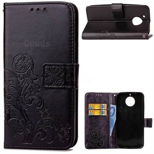 Embossing Imprint Four-Leaf Clover Leather Wallet Case for Motorola Moto G5S Plus - Black