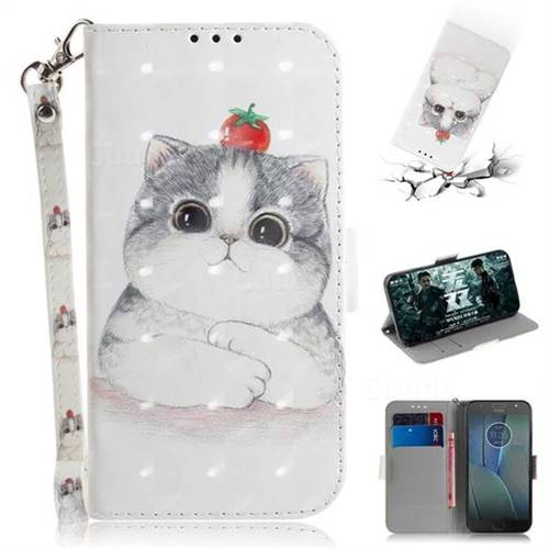 Cute Tomato Cat 3D Painted Leather Wallet Phone Case for Motorola Moto G5S Plus