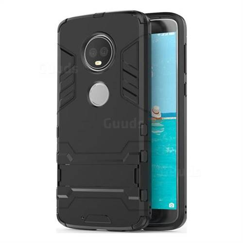 Armor Premium Tactical Grip Kickstand Shockproof Dual Layer Rugged Hard Cover for Motorola Moto G6 - Black