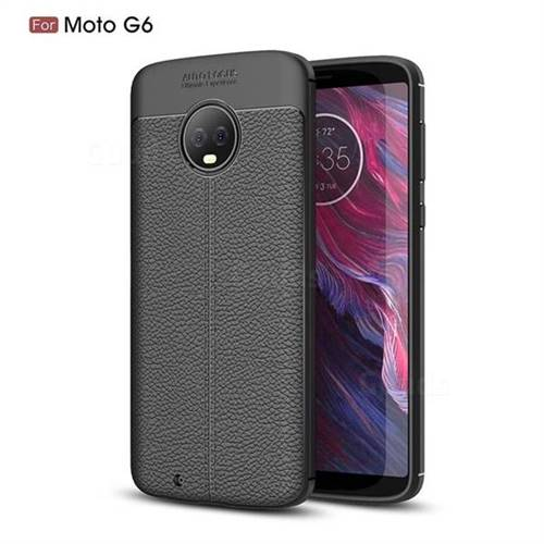 Luxury Auto Focus Litchi Texture Silicone TPU Back Cover for Motorola Moto G6 - Black