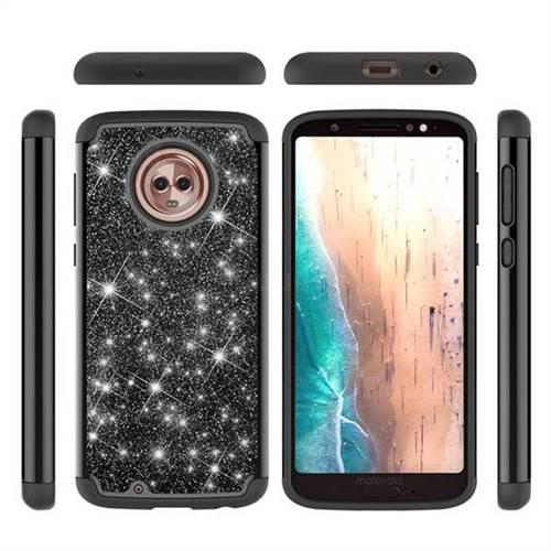 Glitter Rhinestone Bling Shock Absorbing Hybrid Defender Rugged Phone Case Cover for Motorola Moto G6 - Black
