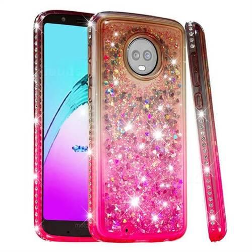 Diamond Frame Liquid Glitter Quicksand Sequins Phone Case for Motorola Moto G6 - Gray Pink