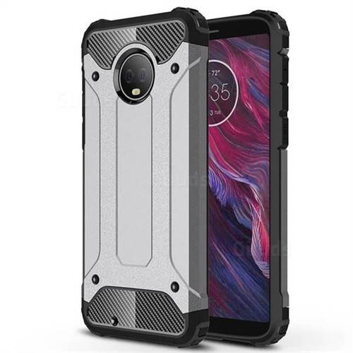 King Kong Armor Premium Shockproof Dual Layer Rugged Hard Cover for Motorola Moto G6 - Silver Grey