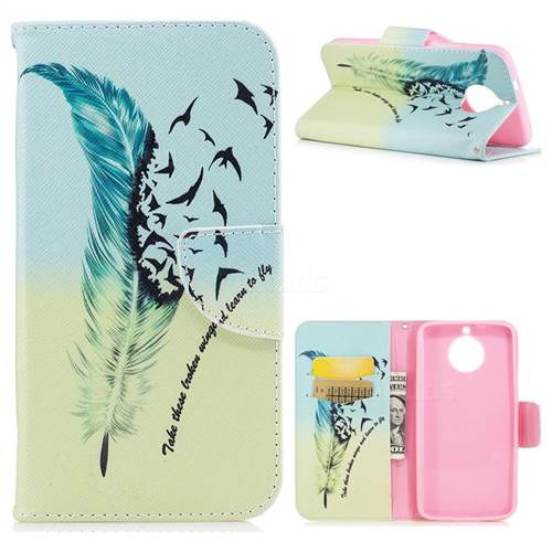 Feather Bird Leather Wallet Case for Motorola Moto G6