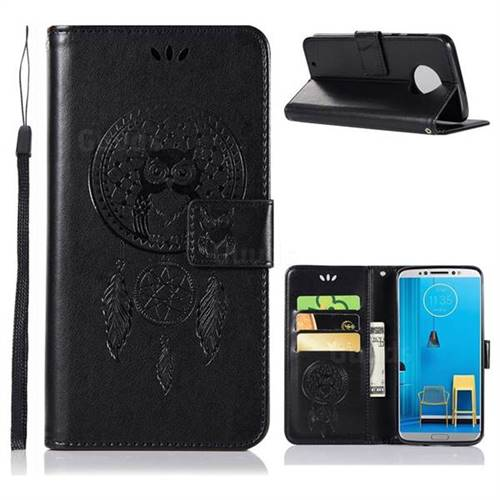 Intricate Embossing Owl Campanula Leather Wallet Case for Motorola Moto G6 - Black