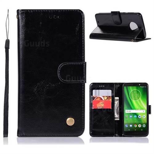 Luxury Retro Leather Wallet Case for Motorola Moto G6 - Black