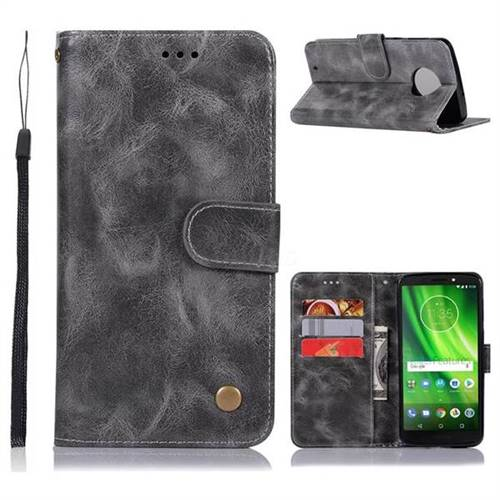 Luxury Retro Leather Wallet Case for Motorola Moto G6 - Gray