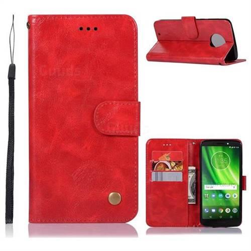 Luxury Retro Leather Wallet Case for Motorola Moto G6 - Red