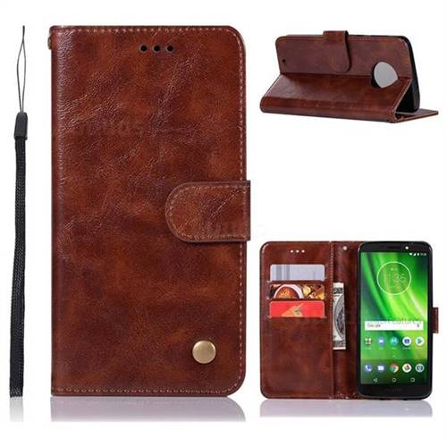 Luxury Retro Leather Wallet Case for Motorola Moto G6 - Brown