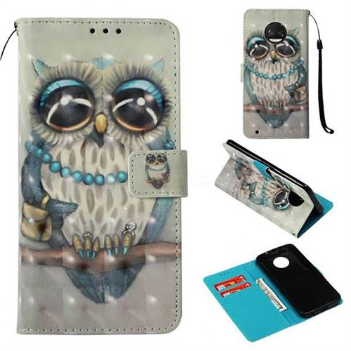 Sweet Gray Owl 3D Painted Leather Wallet Case for Motorola Moto G6