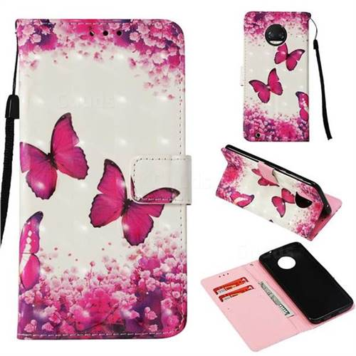 Rose Butterfly 3D Painted Leather Wallet Case for Motorola Moto G6