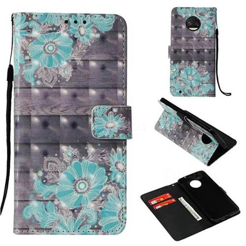 Blue Flower 3D Painted Leather Wallet Case for Motorola Moto G6