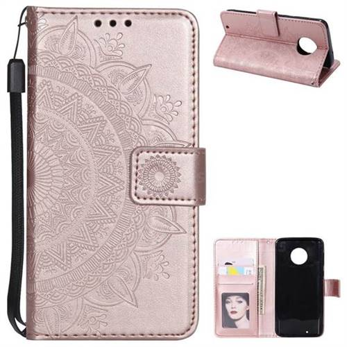 Intricate Embossing Datura Leather Wallet Case for Motorola Moto G6 - Rose Gold